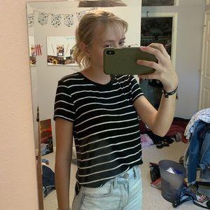 American Eagle black & white stripe sweater top